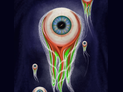 True Origins eyeball galaxy creation float space digital 2d procreate app ipad pro art concept illustration