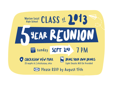 5 Year Class Reunion Invitation