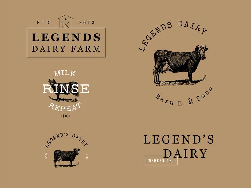 Legend's Dairy Logo modern simple design font duo cow farm logo branding icon logo vector typography design graphic design