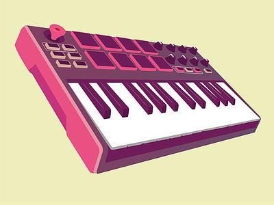Akai MPK Mini mkII controller midi keyboard flat vector illustration mk2 mini mpk akai