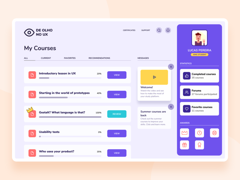 Course web - Colorful concept figma dashboard ui product design product concept learning courses task ux ui minimal clean ui dashboard course web design web app design