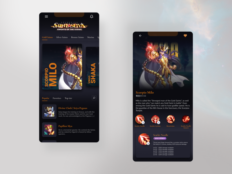 Wiki Sant Seiya: Knights of the Zodiac - Colorful Concept web design light character figma mobile design gold saint shadow games game wiki saint seiya