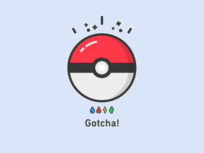 Gotcha! pokeball design icon flat pokemon