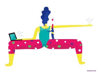 Multifunctional breastfeeding business parenting baby mindfulness yoga illustration minushka