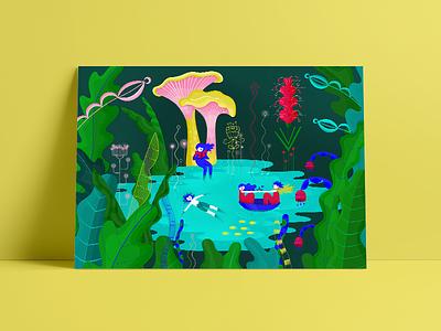 Pool artist art design vickyknysh minushka shopping illustration prints