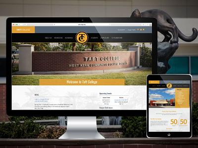 Taft College Website dynamic menus navigational restructure wordpress cms multisite responsive web design