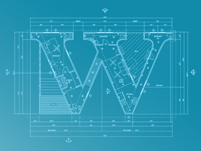 Letter W - TypeTuesday Series architecture floor plan letter w type graphic design