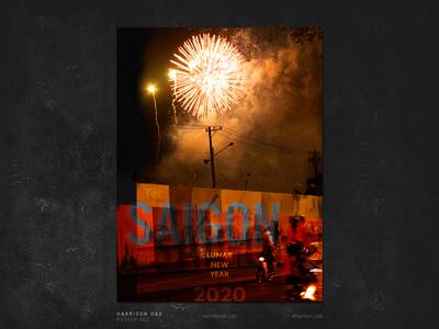 Lunar New Year Poster Design - Fireworks & Motorbikes in Vietnam