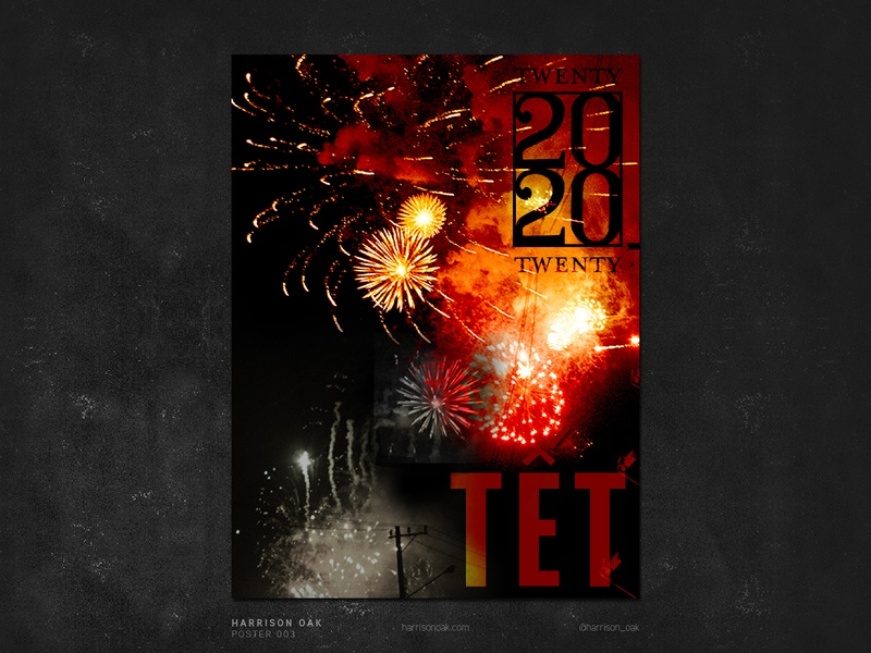 Lunar New Year Poster Design - Fireworks in Siagon, Vietnam 2020
