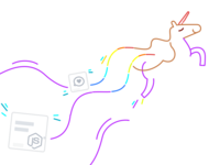 A flying unicorn to illustrate a newsletter