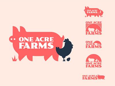 One Acre Farms Logo eggs chicken pig farm branding logo typogaphy design vector illustration