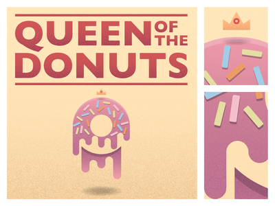 Queen Of Donuts donut typogaphy poster design texture vector illustration