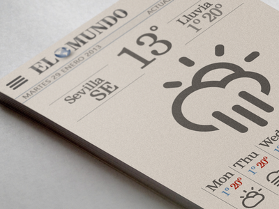 Weather newspaper page weather dribbble paper newspaper icon app white sepia vintage old shadow temp ºc grey black