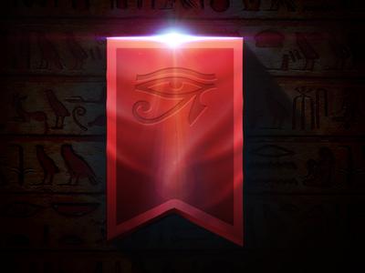 HORUS´S EYE egipt eye horus red flag light black