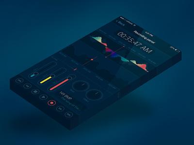 Professional sound recording application blue flat sound music