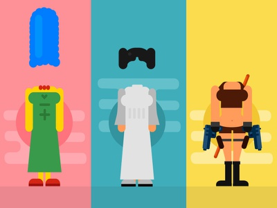 Do you recognize the characters? red blue yellow flat games color famous people characters
