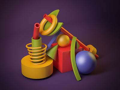 3D Geometric Scene game still life 3d art cinema 4d colors scene art 3d
