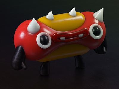 Mr Hot Dog 3d print cinema 4d 3d art funny food fun plastic 3d flat color colors cartoon kids hot dog character