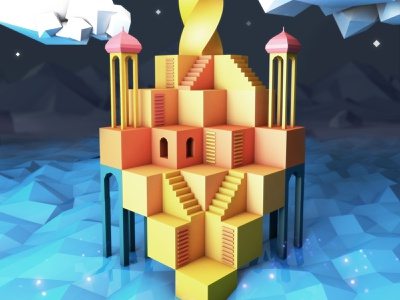 """3d Composition """"Monument Valley"""" Style luminance photoshop illustrator cinema 4d water blue sea colors 3d isometric game monument valley"""