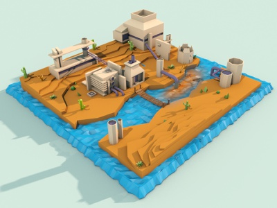 """3d factory """"low poly"""" style industry fabric terrain palette cinema 4d los poly 3d scene isometric"""