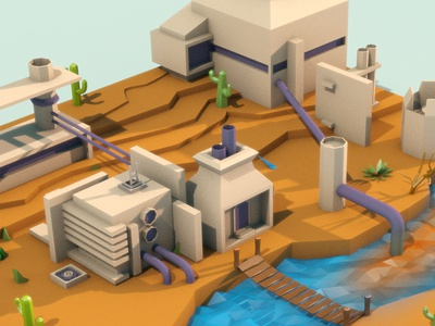 """3d factory """"low poly"""" style V2 kids game palette low poly terrain 3d cinema 4d fabric isometric 3d scene"""