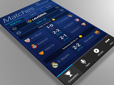 Official LFP application for Blackberry Z10 and Q10 devices app blue application football soccer stats menu team results photoshop design match weather competition official tables twitter blackberry news goal 3d day digital vector ai illustrator white shadow paper