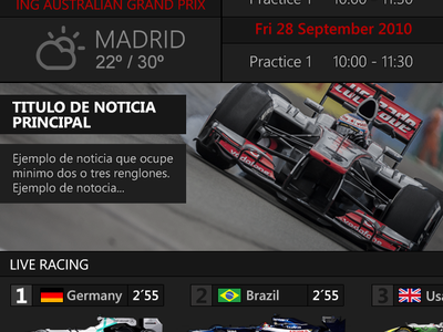 F1 2013 Live 24 App for iphone , ipad and android sport race formula 1 app black grey car renault ferrari flags news weather min max circuit live comment lap