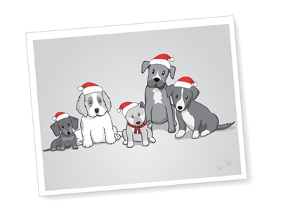 Puppies With Santa Hats dachshund saint bernard shiba inu boxer border collie puppy dog vector illustration santa hat christmas