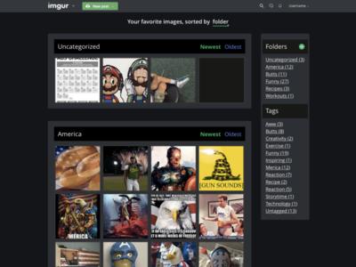 Imgur Favorites Folders navigation sorting favorites ux ui imgur