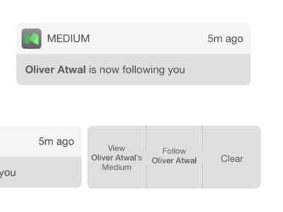 iOS Notification for Medium ux ui notifications medium