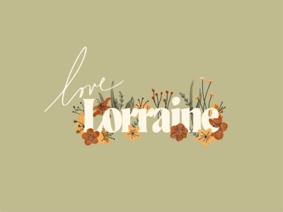 Love Lorraine Logo sprigs foliage leaf brand identity earthy logotype type floral bouquet mushroom lilly logo design marrage wedding rose flowers handlettering hand drawn branding logo