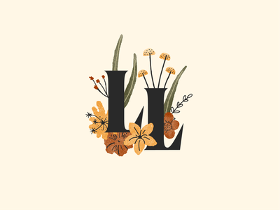 Love Lorraine Lettermark earthy earth tone colorful hand drawn leaf travel adventure wildflower lilly rose floral type initials wedding bouquet mushroom flower logo lettermarklogo lettermark