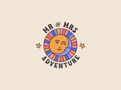 Mr & Mrs Adventure Logo hand drawn animation 2d kiss love color palette type logotype animation youtube sunset sun moon stars gif animation illustration video gif brand identity brand logo
