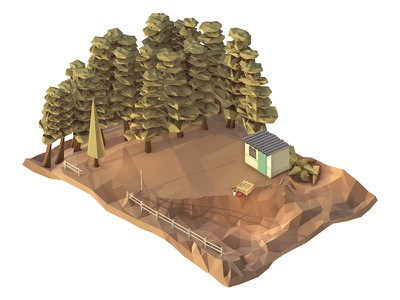 Abandoned Christmas Tree Lot raleigh bucket pallet render shed shack trees low poly lowpoly cinema 4d c4d 3d