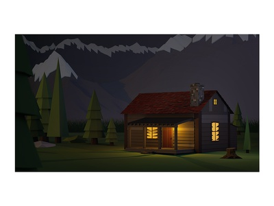 Night at the Cabin mountains stump render cabin trees low poly lowpoly cinema 4d c4d 3d