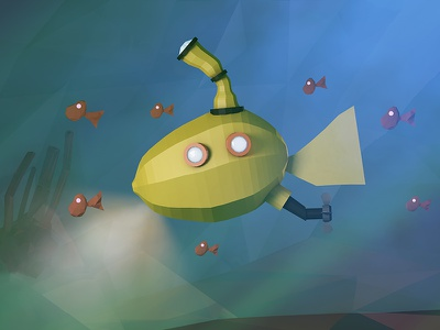 Yellow Submarine | Deep Blue coral ocean fish render submarine deep sea low poly lowpoly cinema 4d c4d 3d
