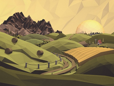 Outskirts of Town farming homestead backroads rural circus small town farm low poly lowpoly cinema 4d c4d 3d