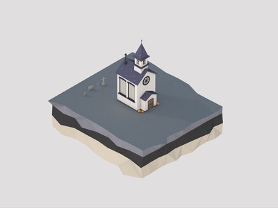 Church Study | Daylight | Halloween 2018 ghost church haunted halloween c4d render design lowpoly low poly cinema 4d 3d