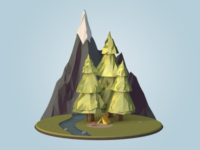 Camping 101 | Lowpoly campfire scene camping illustration design lowpoly render low poly c4d cinema 4d 3d