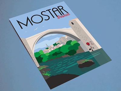 Travel Posters - Mostar, Bosnia print travel illustration