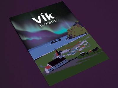 Travel Posters - Vik, Iceland iceland print travel illustration