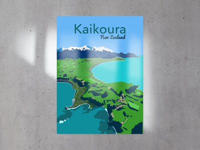 Travel Posters -  Kaikoura, NZ print travel illustration