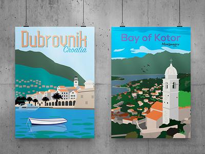 Travel Posters - Croatia and Montenegro print travel illustration
