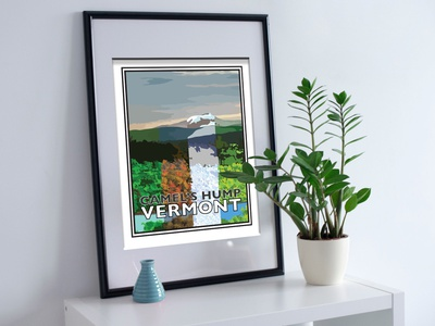 Travel Posters - Camel's Hump, Vermont print travel illustration