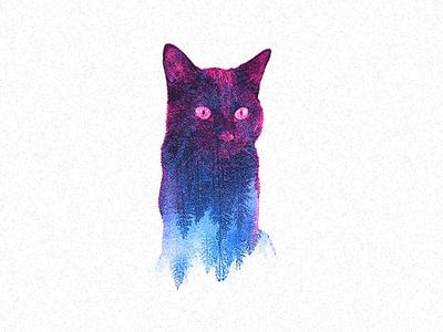 "My cat ""Pixel"" photography double exposure illustration"