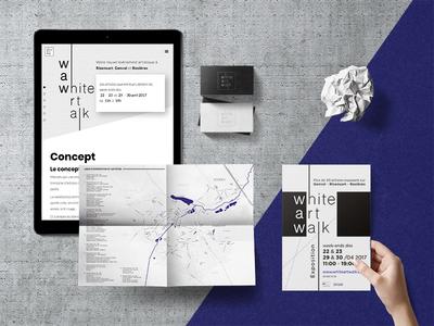 WAW - white art walk map flyer web design logo logotype branding