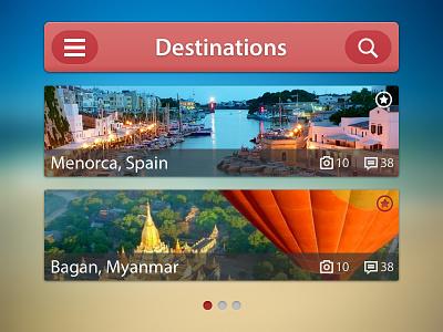 Destinations ui iphone app rebound travel application ios red user interface