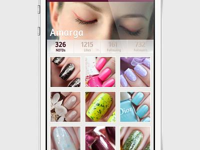 Notder Profile iphone ui ios app mobile profile network social community photos thumbnails picture nails