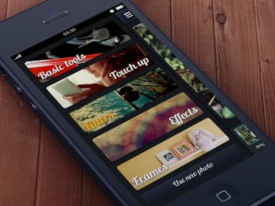 Simple Photo Editor menu iphone ui ios app mobile photos pictures pics black dark menu navigation editor
