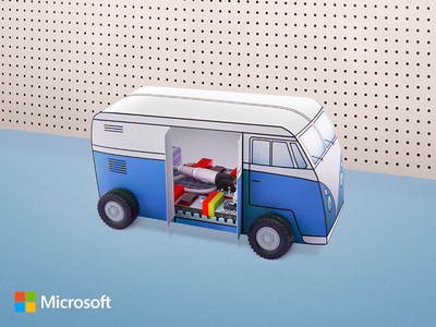 Microsoft Store   littleBits Ad  bus vw electronics car agency kids ad littlebits microsoft